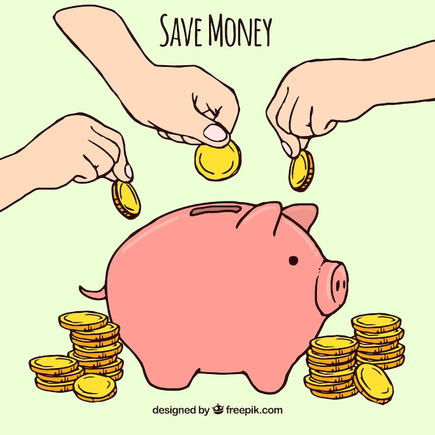 Piggy bank hand drawn with coins Free Vector