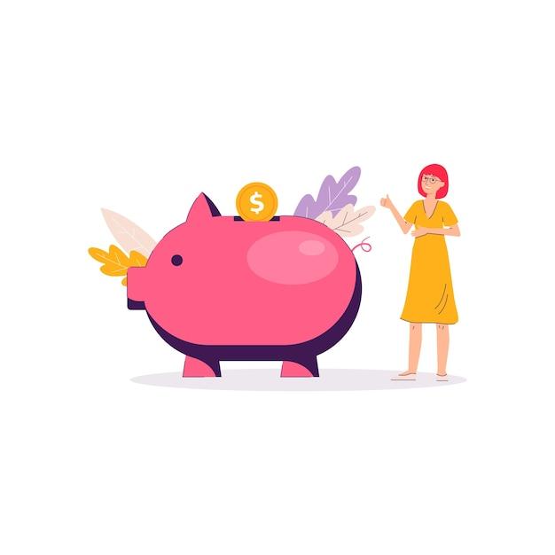 Баннер сбережений денег копилка - мультфильм женщина, стоящая возле гигантской розовой игрушки свиньи и кладет золотую монету. личные финансы - Premium векторы