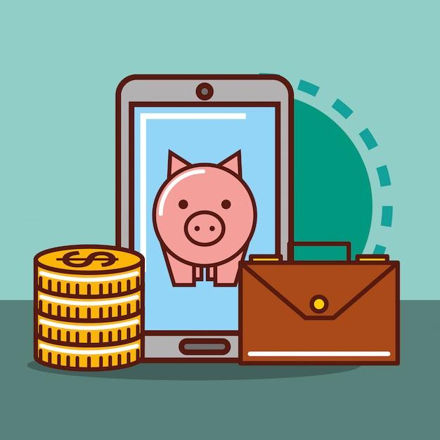 Piggy bank money Premium Vector
