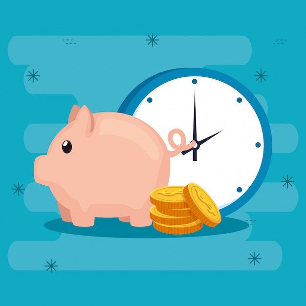 Piggy bank with coins and clock Premium Vector