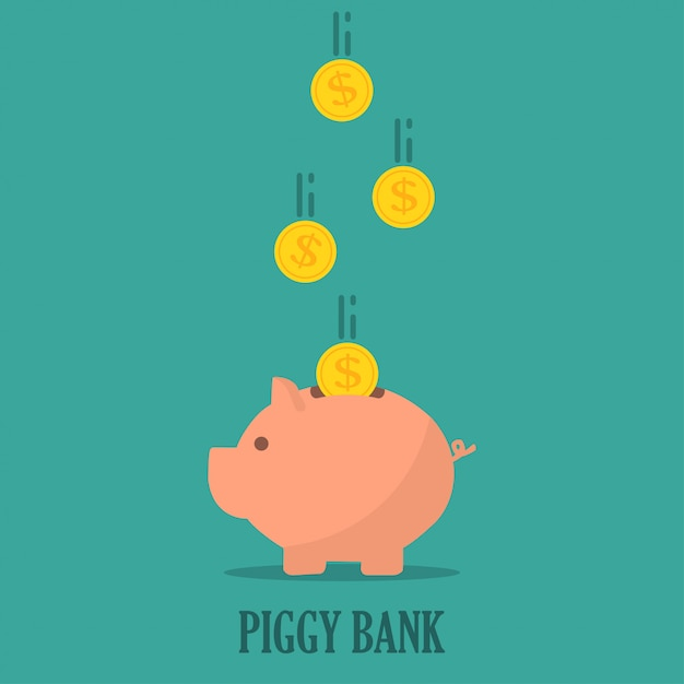 Piggy bank with coins in a flat design. the concept of saving or save money or open a bank deposit Premium Vector