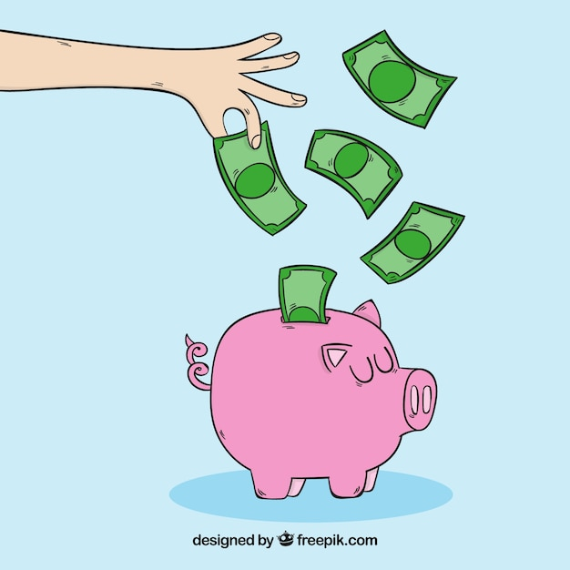 Piggy bank with notes background Free Vector