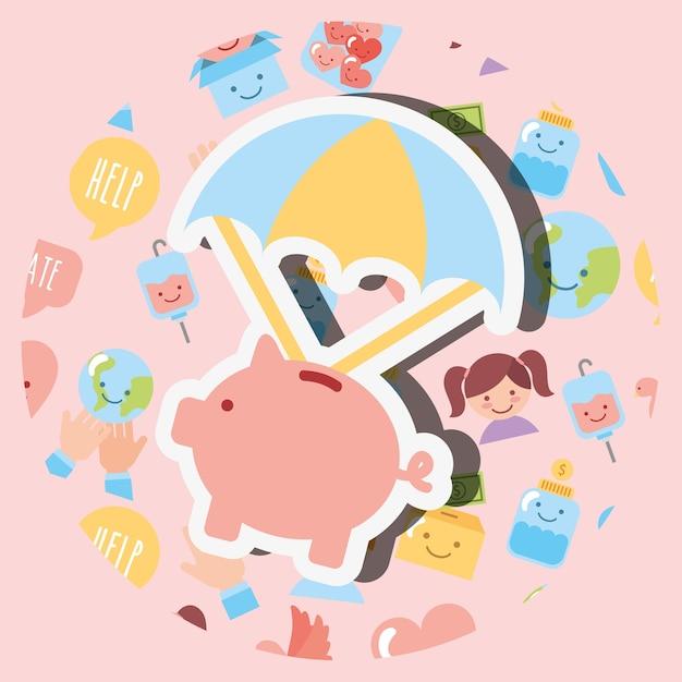 Piggy bank with parachute cartoon charity image Premium Vector