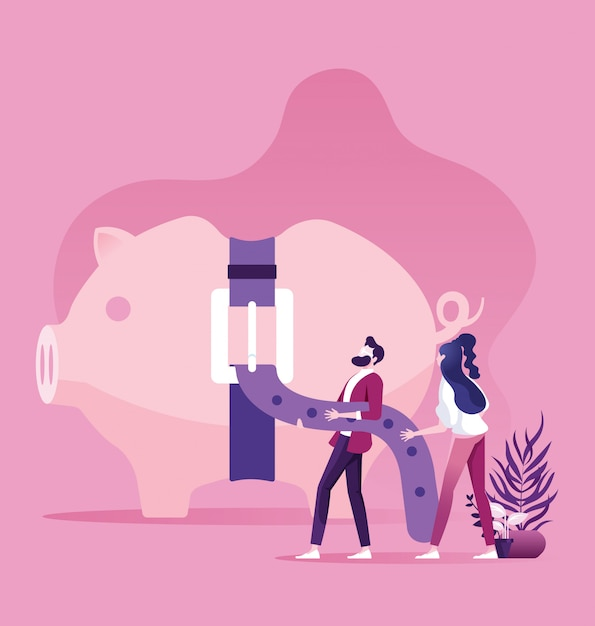 Piggy bank with tight belt business financial concept Premium Vector
