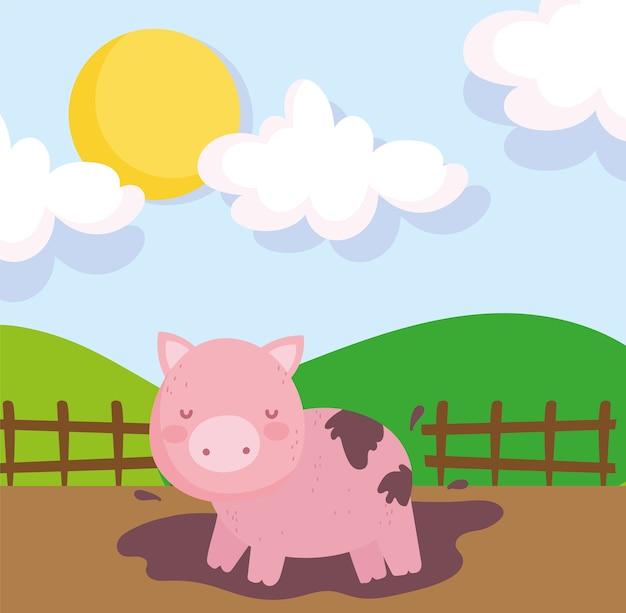 Копилка в грязи деревянный забор небо животные ферма Premium векторы
