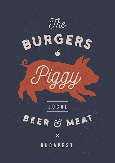 Хрюша, свинья, свинина Premium векторы