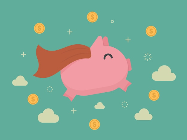 Piggybank background design Free Vector