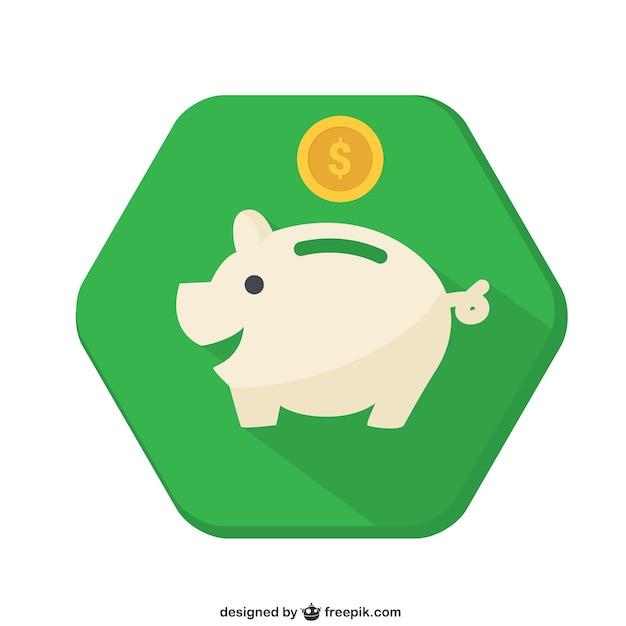 Piggybank badge Free Vector