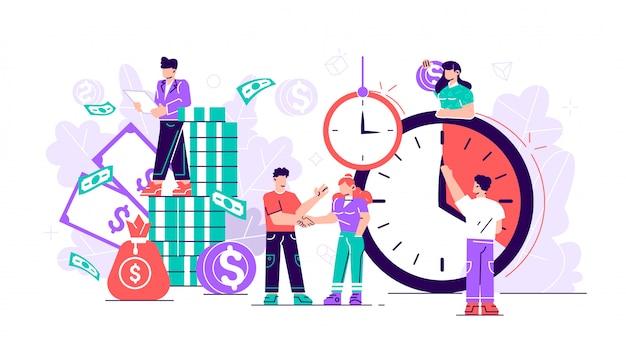 平らな。コンセプトは時間とお金を節約します。タイムズはお金です。ビジネスと管理、piggybank、時は金なり、株式市場への金融投資、将来の所得の伸び、時間管理計画、期限 Premiumベクター