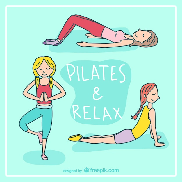 Pilates and relax cartoon vector