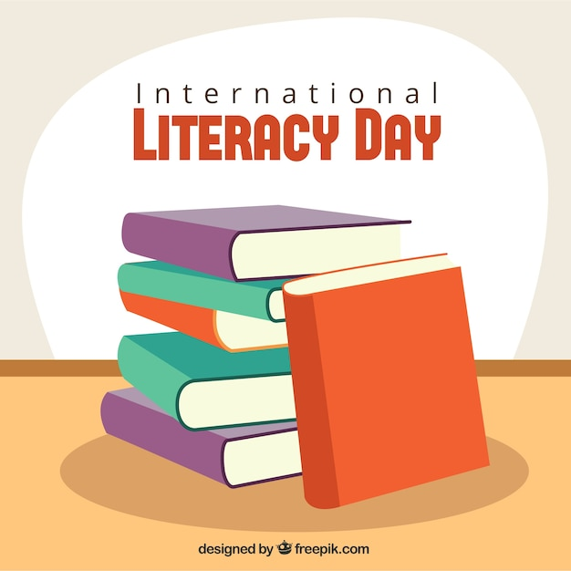 Pile background of books for literacy day Free Vector