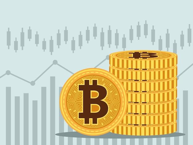 Куча биткойнов кибер-деньги технологии иконки векторные иллюстрации дизайн Premium векторы
