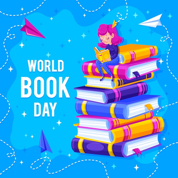 Pile of books and reader on top world book day Free Vector