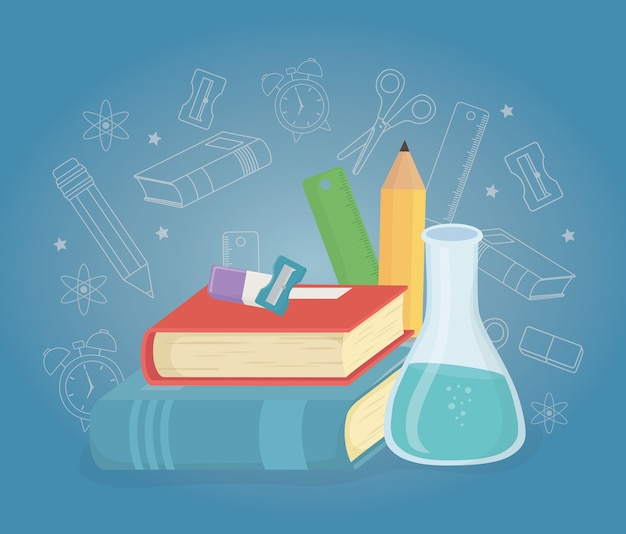 Pile books and supplies back to school Free Vector