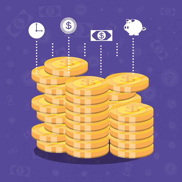 Pile of coins dollar isolated icon Premium Vector
