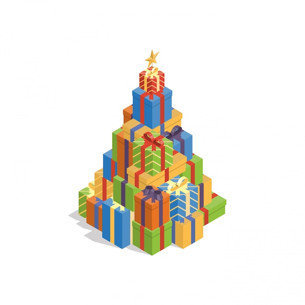 Pile of colorful gift boxes in shape of christmas tree Premium Vector