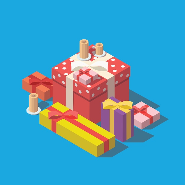 Pile of colorful wrapped gift boxes. Premium Vector