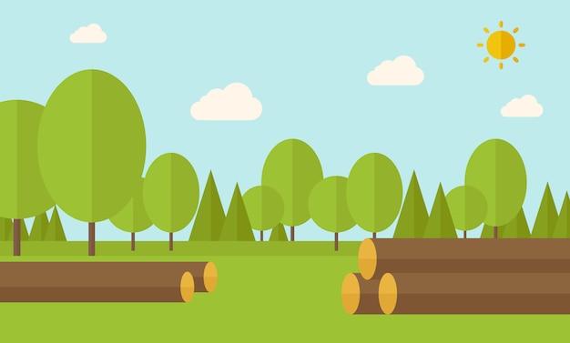 Pile of drywood Premium Vector