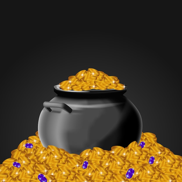 Pile of gold coin money pot gift prize economy finance Premium Vector