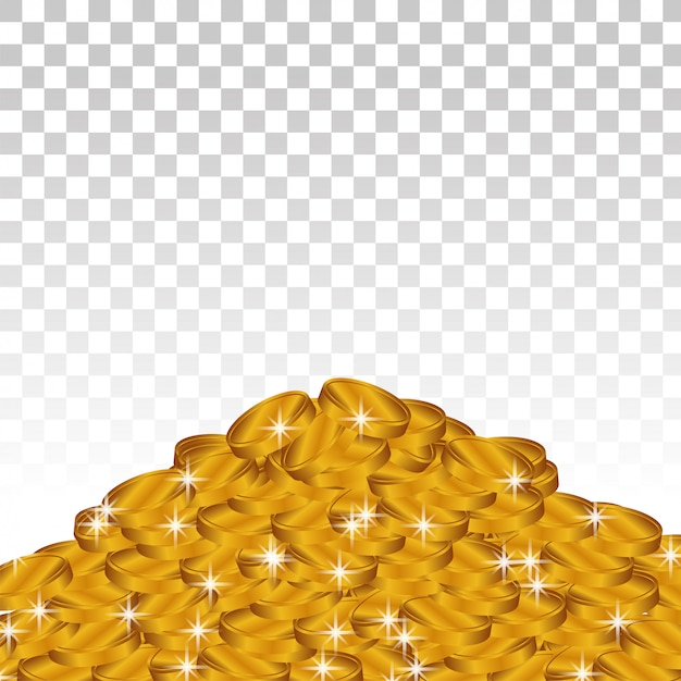 Pile of gold coin shiny Premium Vector
