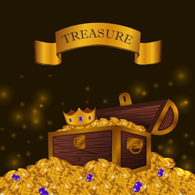 Pile of gold coin with treasure box with crown Premium Vector
