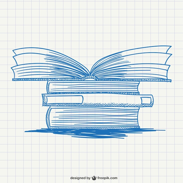 Pile of books drawing Free Vector