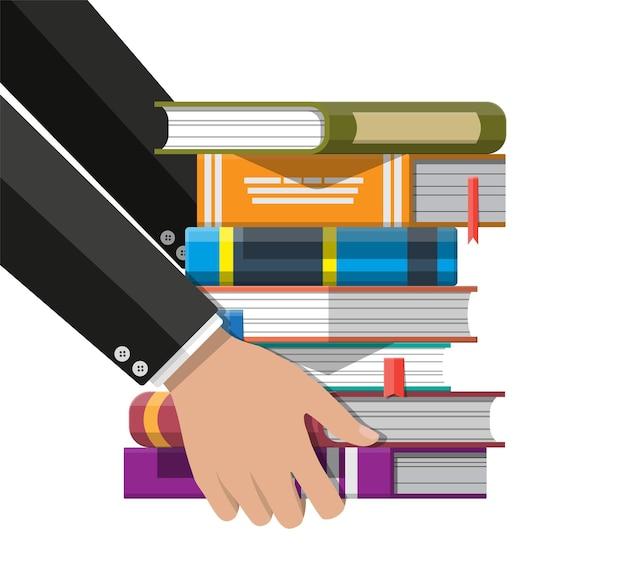 Куча книг в руке. обучение чтению, электронная книга, литература, энциклопедия. Premium векторы