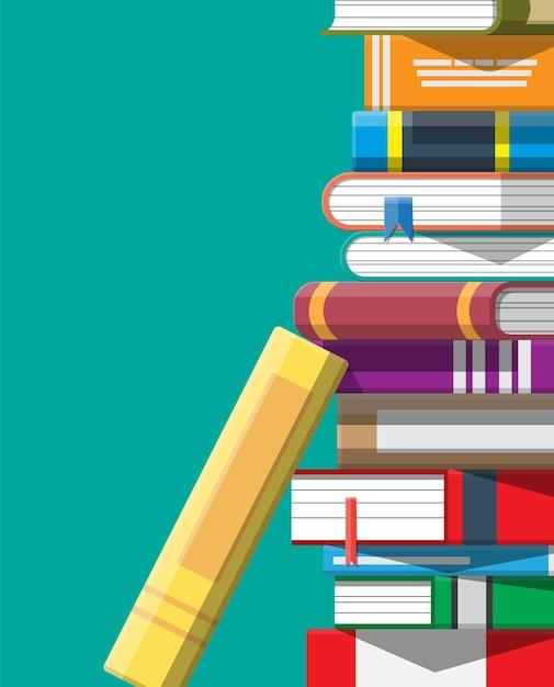 Стопка книг. обучение чтению, электронная книга, литература, энциклопедия. Premium векторы