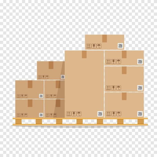 木製パレット上の茶色の段ボール箱の山。木製トレイの倉庫部品ボックス。カーゴボックス。 Premiumベクター
