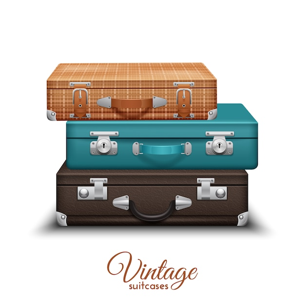 Pile of old vintage travel suitcases set Free Vector