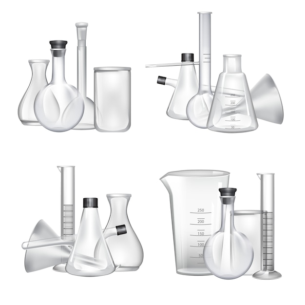 Piles of chemical laboratory glass tubes set. glass tube and laboratory experiment illustration Premium Vector