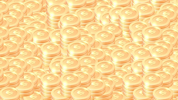 Piles of gold coins cartoon vector background Free Vector