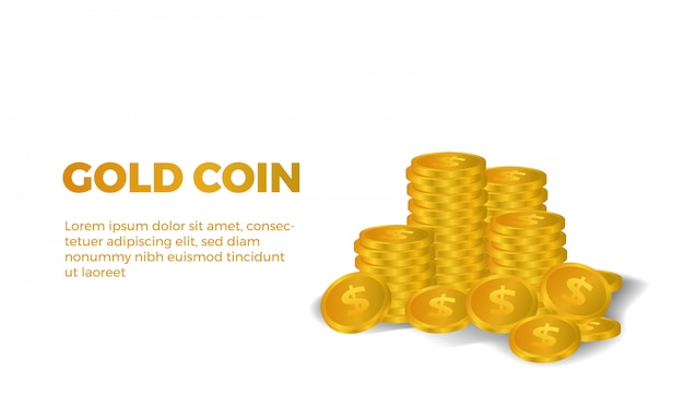 Piles of much 3d golden dollar money illustration shiny Premium Vector
