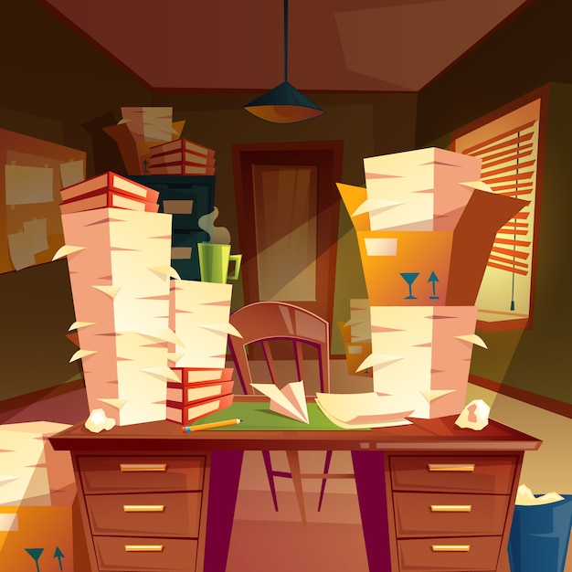 Piles of paper in empty office, paperwork, folders, documents in boxes Free Vector