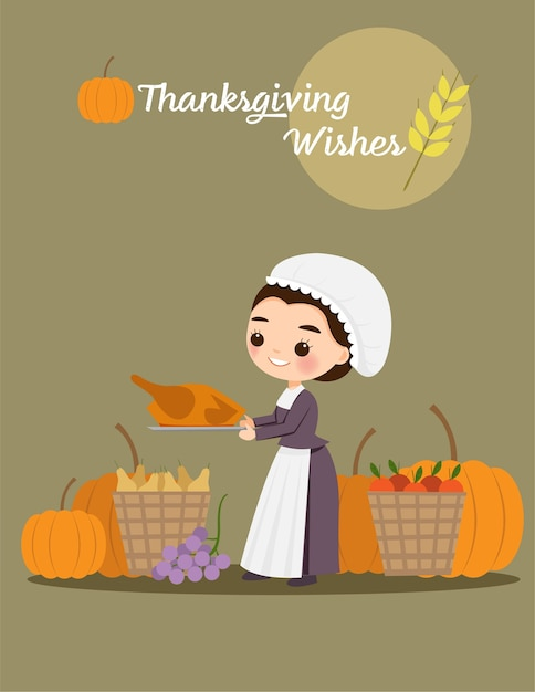 Pilgrim woman with turkey and fruits for thanksgiving festival Premium Vector