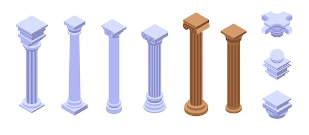 Pillar icons set, isometric style Premium Vector
