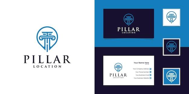 Логотип расположения столба и визитная карточка Premium векторы