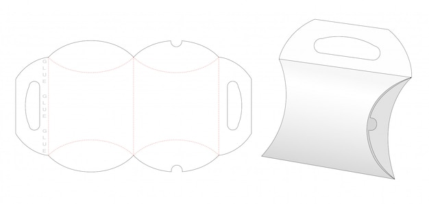 Pillow box and carried holder die cut template Premium Vector
