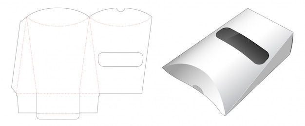 Pillow snack packaging with window die cut template design Premium Vector