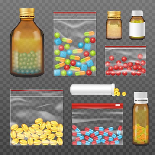 Pills capsules packs realistic transparent set Free Vector