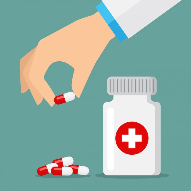 Pills icons red and white Premium Vector