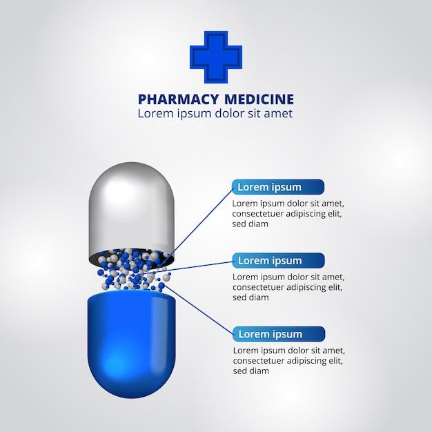 Pills pharmacy illustration data infographic template Premium Vector