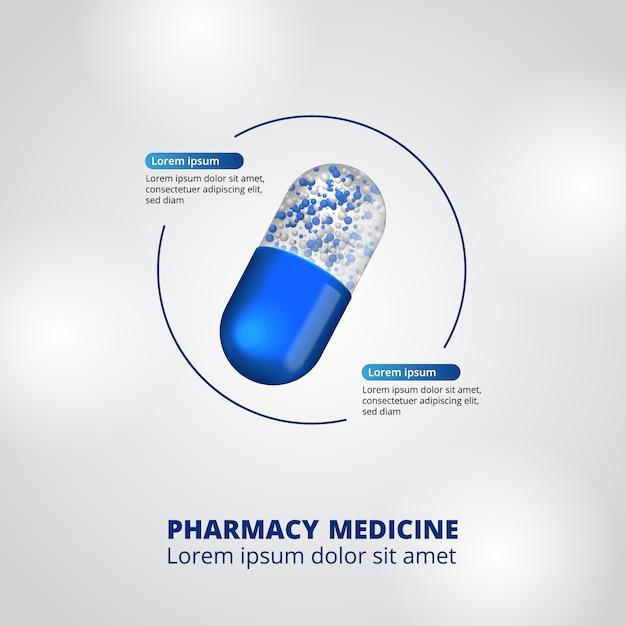 Pills pharmacy illustration data infographic Premium Vector