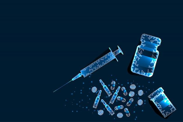 Pills, syringe. abstract polygonal pill frame near bottle and syringe on blue background. Premium Vector