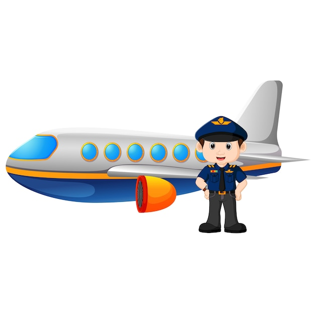 Pilot and airplane on white background Premium Vector