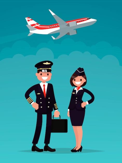 Летчик и стюардесса на фоне взлетающего самолета. Premium векторы