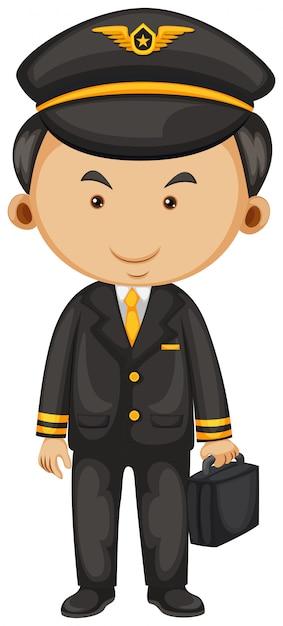 Pilot in black suit and briefcase Premium Vector