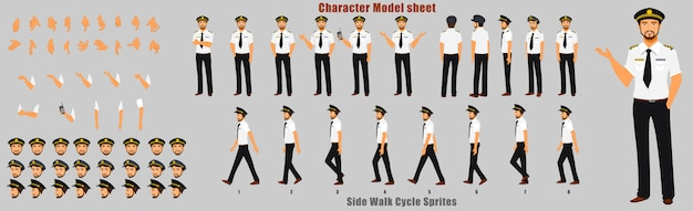 Pilot character model sheet with walk cycle animation sequence Premium Vector