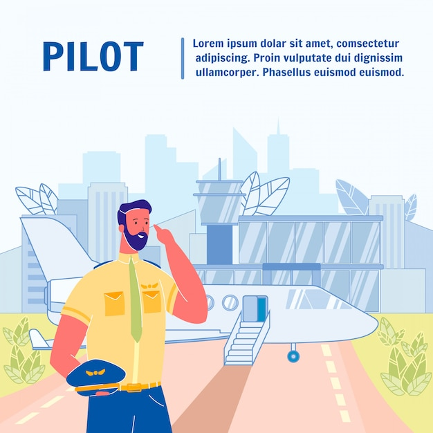 Pilot flat vector poster template with text space Premium Vector