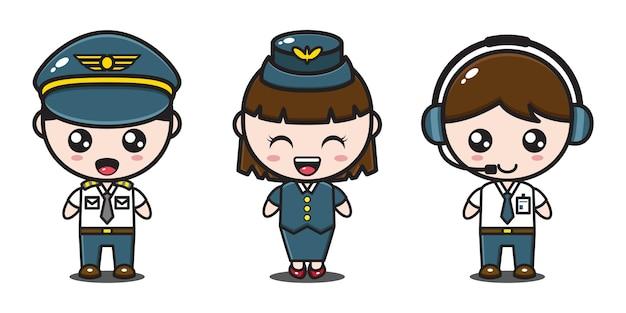 Пилот, бортпроводник и оператор самолета Premium векторы